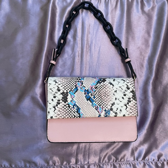 Pink and Multicolored Snakeskin Bag